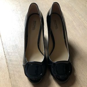 Michael Kors Chunky Buckle Patent Leather Heels 7